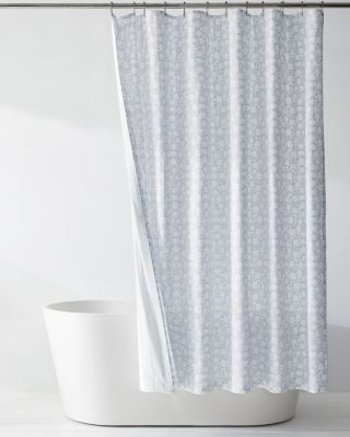 Solid Siesta Reversible Organic-Cotton Percale Shower Curtain