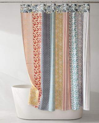 NEW Camille Striped Patchwork Shower Curtain