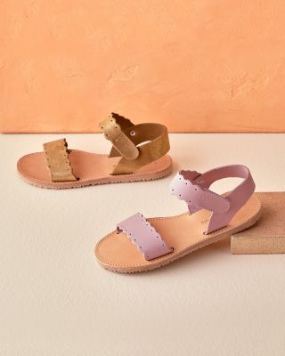 Girls' Scalloped-Edge Leather Sandals