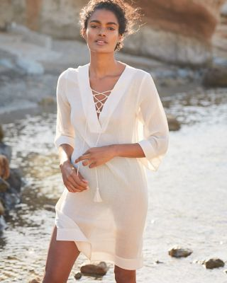 Lace-Front Crinkled Organic Cotton Gauze Swim Cover-Up