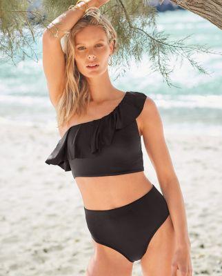 Garnet Hill Playa Mid-Rise Bikini Bottom UPF 50+