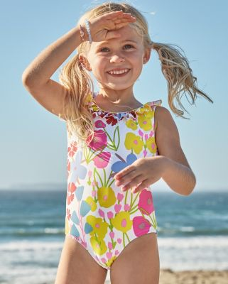 NEW Girls' Ruffle-Detail One-Piece Swimsuit
