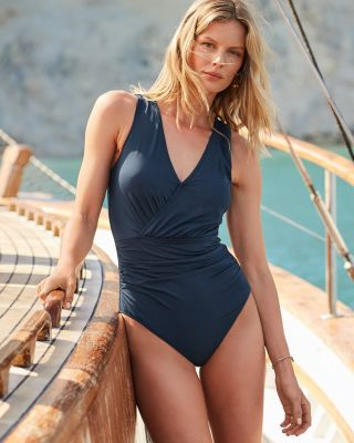 Garnet Hill Ruched Surplice V-Neck One-Piece Swimsuit UPF 50+