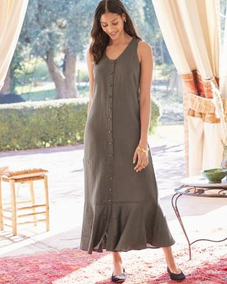 Button-Front Linen Maxi Tank Dress