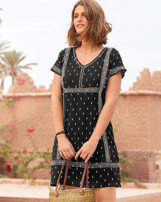 Embroidered Organic Cotton Cap-Sleeve Gauze Dress