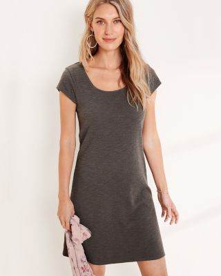 Square-Neck Cotton Knit T-Shirt Dress