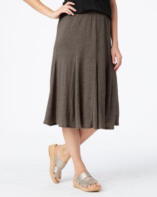 Organic-Linen Jersey-Knit Godet Skirt