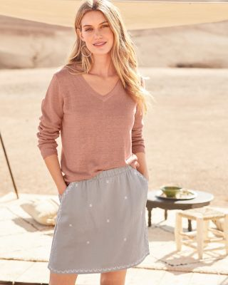 Embroidered Linen Skirt