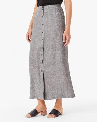 Button-Front Linen Maxi Skirt