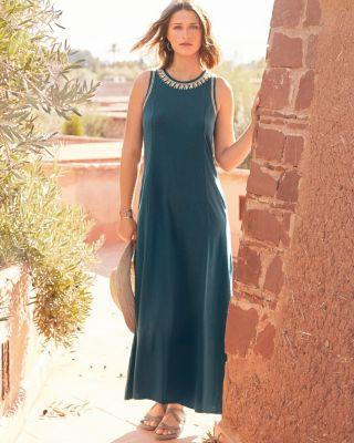 Embroidered Jewel-Neck Maxi Dress