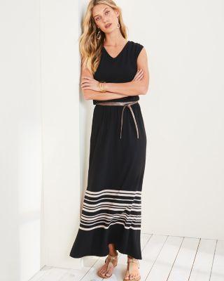 V-Neck Cap-Sleeve Maxi Black Dress