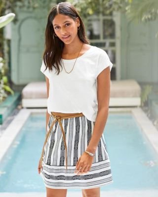 Cotton Jacquard Striped Skirt