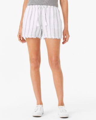 Linen Fringe-Hem Shorts