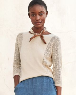 Pointelle-Sleeve Linen & Organic Cotton Boatneck Sweater