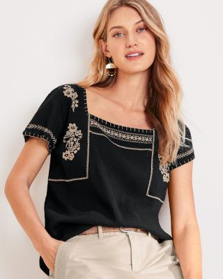 Embroidered Semi-Sheer Organic Cotton Gauze Blouse