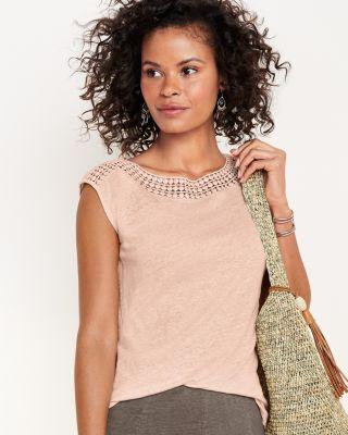 Crochet-Detail Organic-Linen T-Shirt