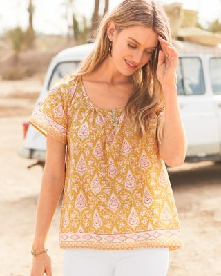 Scoop-Neck Boho Organic Cotton Blouse