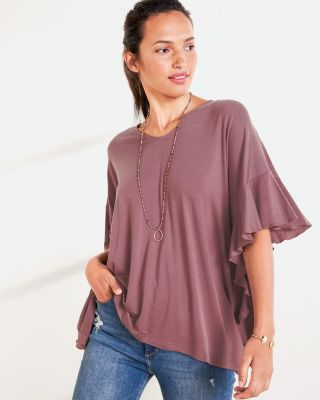 Oversized V-Neck Batwing Tunic Top
