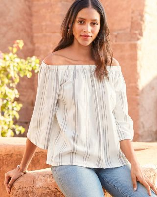 Off-the-Shoulder Adjustable Cotton Gauze Blouse
