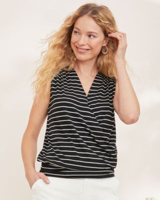 Banded Hem Surplice Knit Tank Top