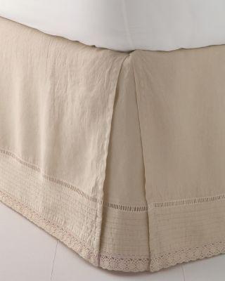 Relaxed-Linen Embellished Bedskirt