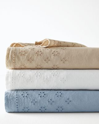 Eyelet Embellished-Trim Relaxed-Linen Sheets