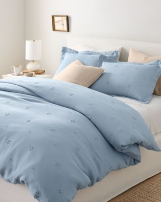 Eyelet Embellished-Trim Relaxed-Linen Duvet Cover