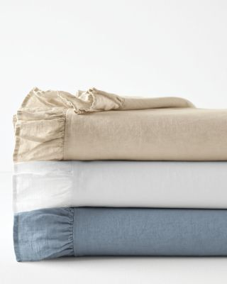 Embellished-Trim Ruffled Relaxed-Linen Sheets