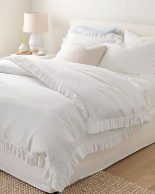 Ruffle Embellished-Trim Relaxed-Linen Duvet Cover