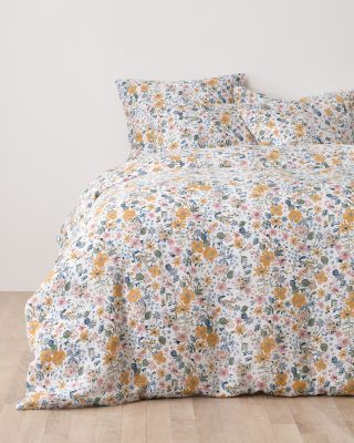 Sun Valley Floral Relaxed-Linen Duvet Cover