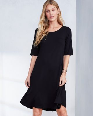 EILEEN FISHER Fine TENCEL-Jersey Elbow-Sleeve Flare Dress