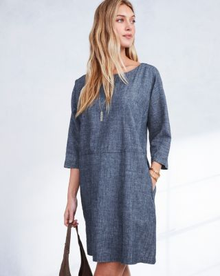 EILEEN FISHER Hemp & Organic-Cotton Chambray Dress