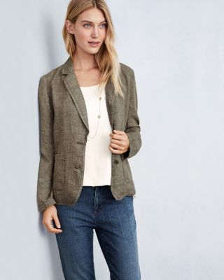 EILEEN FISHER Washed Organic-Linen Delave Shaped Blazer