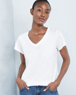 EILEEN FISHER Slubbed-Organic-Cotton V-Neck T-Shirt