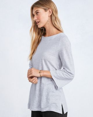 EILEEN FISHER Organic-Linen-Jersey Striped Bracelet-Sleeve Tee Shirt