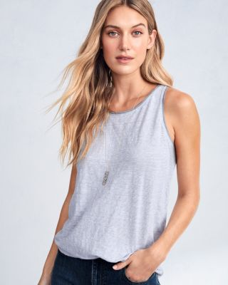 EILEEN FISHER Organic-Linen-Jersey Striped Racerback Shell Top