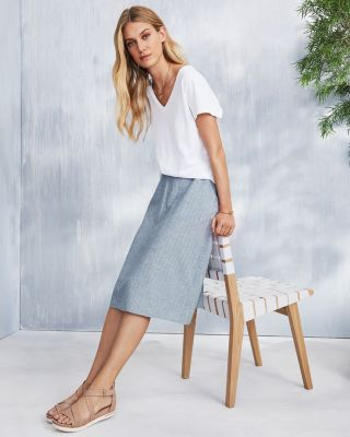 EILEEN FISHER Hemp & Organic-Cotton Knee-Length Skirt
