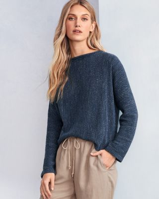 EILEEN FISHER Organic-Cotton & TENCEL Bateau-Neck Sweater