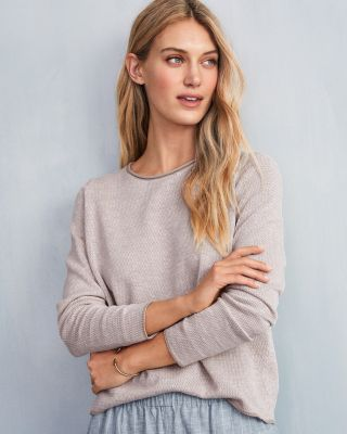 EILEEN FISHER Organic-Linen & Organic-Cotton Jewel-Neck Sweater