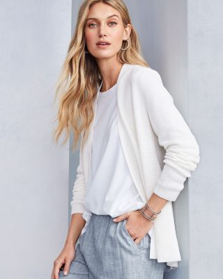 EILEEN FISHER Organic-Linen & Organic-Cotton Seam-Detail Cardigan Sweater