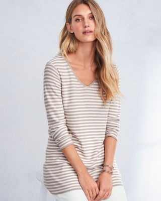 EILEEN FISHER Organic-Linen & Organic-Cotton Striped V-Neck