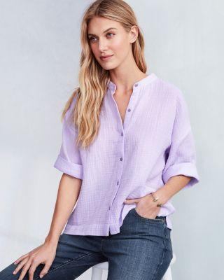 EILEEN FISHER Organic-Cotton Gauze Boxy Shirt