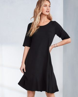 EILEEN FISHER Fine TENCEL-Jersey Elbow-Sleeve Flare Dress Petite