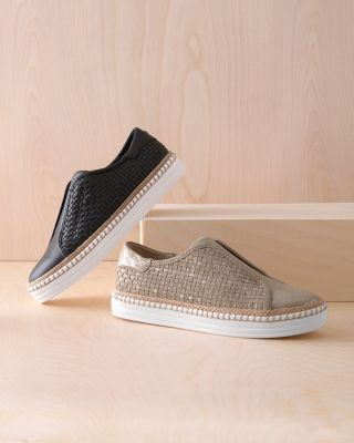 J/Slides Kayla Woven Leather Slip-On Shoes