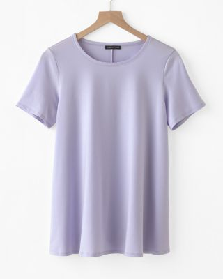 EILEEN FISHER Fine TENCEL-Jersey Short-Sleeve Top Petite
