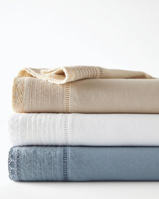 Crochet Embellished-Trim Relaxed-Linen Sheets