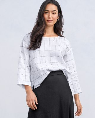 EILEEN FISHER Organic-Linen Checked Boxy Top Petite