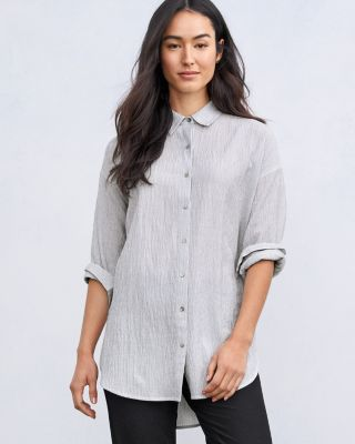 EILEEN FISHER TENCEL & Organic-Cotton Ministripe Shirt Petite
