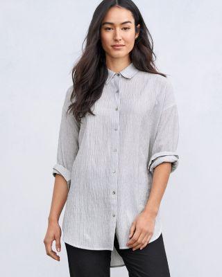 EILEEN FISHER TENCEL & Organic-Cotton Ministripe Shirt Petite