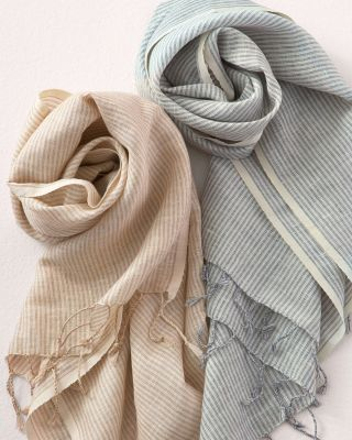 Vismaya Linen & Cotton Striped Scarf With Fringe